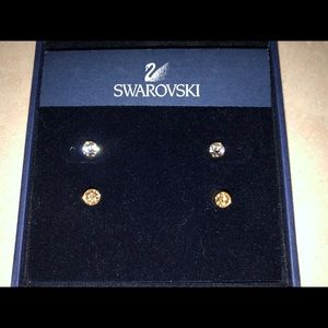 New Swarovski Crystal Button Earrings